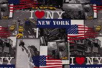 Woven cotton-poplin with New York motifs