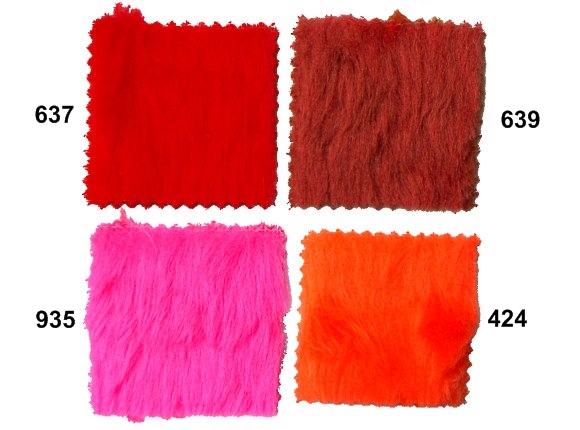 Pile faux fur in pink and red
