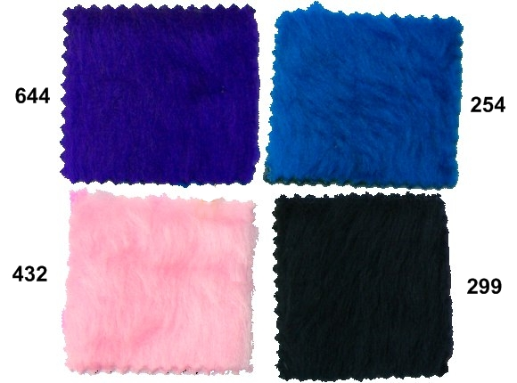 Pile faux fur in blue, pink, black
