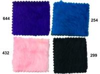 Pile faux fur in blue, pink, black.
