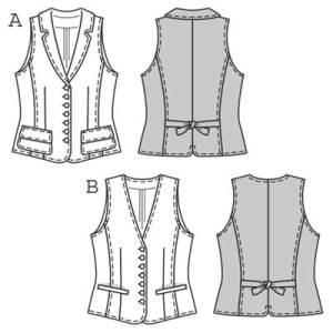 This season's absolute fashion favourite is a waistcoat/vest shaped by darts and section seams. It can be worn directly on your skin but also looks attractive over shirts, blouses and tops. It can be made with collar and patch pockets or with V-neck and welted pockets.