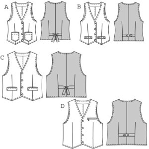 These waistcoats/vests (A & B for ladies, C & D for men) belong in everyone's wardrobe because they will always team well with any outfit, e.g. over tops, blouses or shirts. Various fabrics and details or different mixing and matching provide for endless styling possibilities!