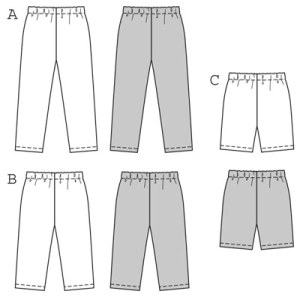 Leggings in three lengths for exercising, playing, lying around or going out! They look sporty with a t-shirt or casually relaxed with a blouse or fashionable with a dress, and they are always very comfortable – a must for every wardrobe! They're also easy to make, due to their elastic waistband and lack of side seams …