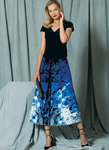 Surplice Top and Full, Pleated Skirt, Kay Unger