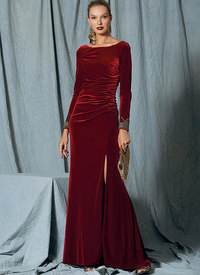 Vogue pattern: Side-Gathered, Long Sleeve Dress with Beaded Trim, Badgley Mischka