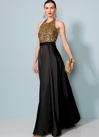 Vogue 1534. Halter-Neck, Pleated Floor-Length Dress, Badgley Mischka.