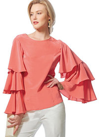 Vogue 9243. Princess Seam Tops with Flared Sleeve Variations, Vogue Easy Options.