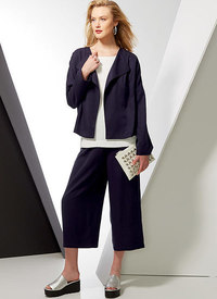 Vogue 9246. Drop-Shoulder Jackets, Belt, Top with Yokes, and Pull-On Pants.