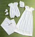 Infants´ Romper, Dress, Sash, Hat, Booties and Blanket