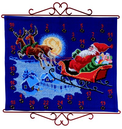 Christmas gift calendar - Santa Claus flying in sky
