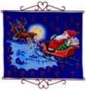 Permin 34-5211. Christmas gift calendar - Santa Claus flying in sky.