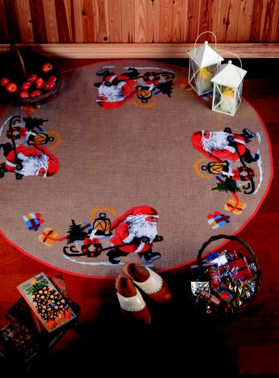 Christmas tree skirts - Santa Claus helper pulling sled