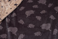 2-sided supersoft, charcoal micro-fleece with elephants