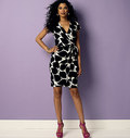 Fitted, wrap dress has right front pleats, shaped right front skirt, wrong side shows, narrow facings, tie ends, stitched hems, and narrow hem finish on armholes.  Designed for Lightweight Two-Way Stretch Knits Only.