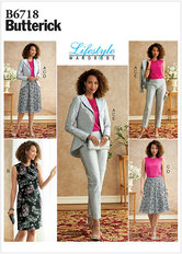 Jacket, Dress, Top, Skirt, and Pants. Butterick 6718.