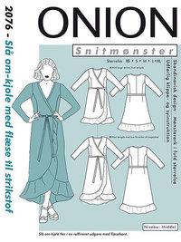 Wrap dress with waist tie. Onion 2076.
