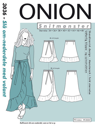 Wrap skirt with volant