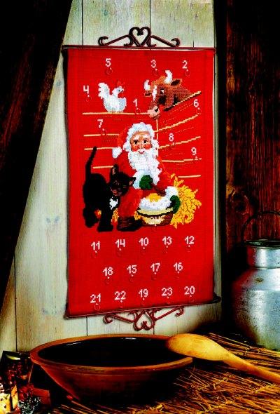 Christmas gift calendar - Santa Claus in barn