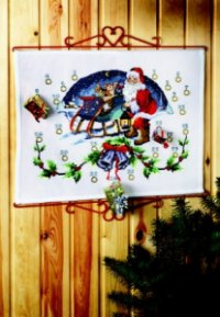 Christmas gift calendar - Santa Claus with sled. Permin 34-2205.