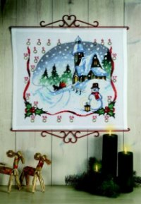 Christmas gift calendar - Church and bells. Permin 34-4295.