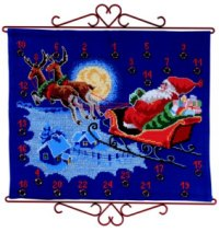 Christmas gift calendar - Santa Claus flying in sky. Permin 34-5211.