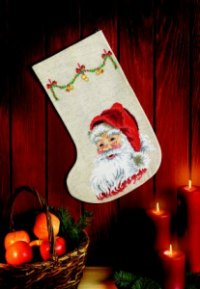 Christmas sock stocking - Happy Santa Claus. Permin 41-3250.