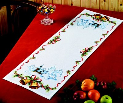 Table decoration - Christmas bells and church