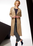 Very loose-fitting unlined jacket has front extending into collar, back yoke, and length variations. Loose-fitting pullover top has front and back yoke. Semi-fitted pull-on pants have elastic at back waist and leg variations.