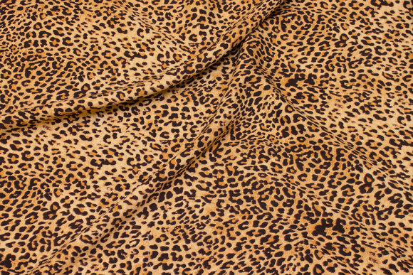 Beige viscose mousselin with small brown animal-print