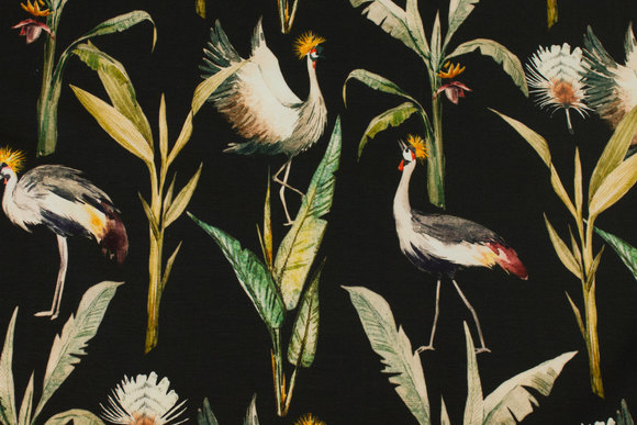 Black cotton-jersey with ca. 8 cm cranes
