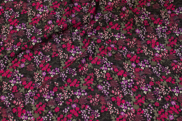 Black viscose mousselin with small wine-red flowers