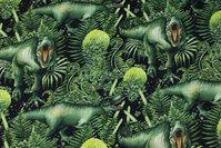 Cotton-jogging with dinosaurs in green colors