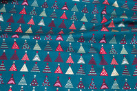 Dark green christmas-cotton with ca. 2 cm christmas trees