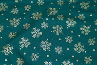 Dark green christmas-cotton with ca. 3-5 cm gold snow-crystals