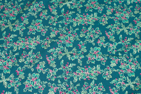 Dark green christmas-cotton with holly