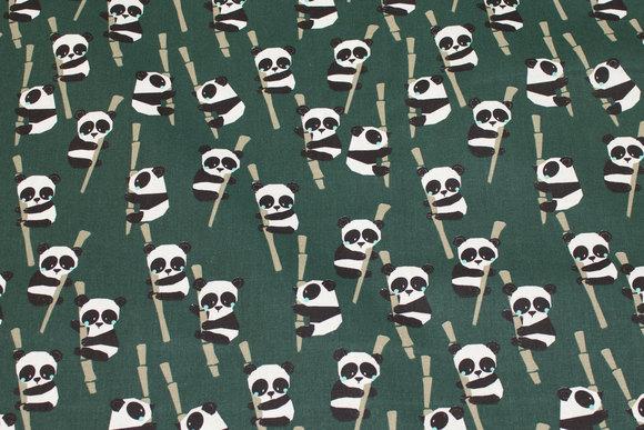 Dark green, Gots organic, firm cotton with pandas