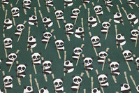 Dark green, Gots organic, firm cotton with pandas