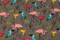 Dirt-colored sweatshirt fabric with ca. 7 cm flamingos