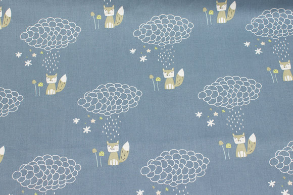 Dove-blue, gots organic, firm cotton with foxes