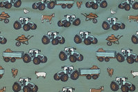 Dusty-green cotton-jersey with ca. 5 cm tractors