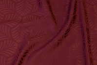 Elegant jacquard-woven table-cloth-fabric in bordeaux with ca. 6 cm leaf-pattern