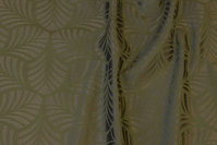 Elegant jacquard-woven table-cloth-fabric in dark olive-green with ca. 6 cm leaf-pattern