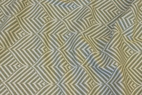 Elegant jacquard-woven table-cloth-fabric in olive-green and light with ca. 10 cm leaf-pattern