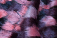 Faux luxury fur in soft red, black, eggplant-colored