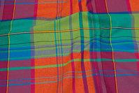 Firm cotton, red-turqoise, ca. 15 cm big checks