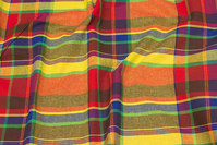 Firm cotton, yellow-orange, ca. 15 cm big checks