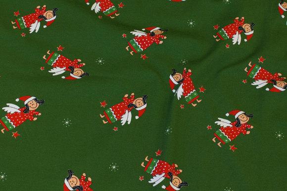 Green jule cotton-jersey with ca. 6 cm big elfs-angels