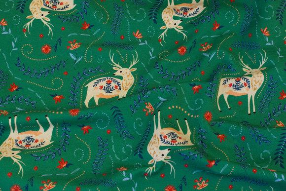 Green, light sweatshirt fabric with ca. 6 cm big deer
