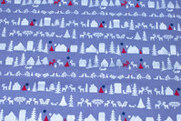 Grey christmas-cotton with houses and trees