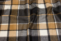 Large-checks wool and polyester flannel in black, grey, camel